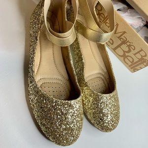 Bella Marie Gold Glitter Flats W/ Ankle Strap Flat